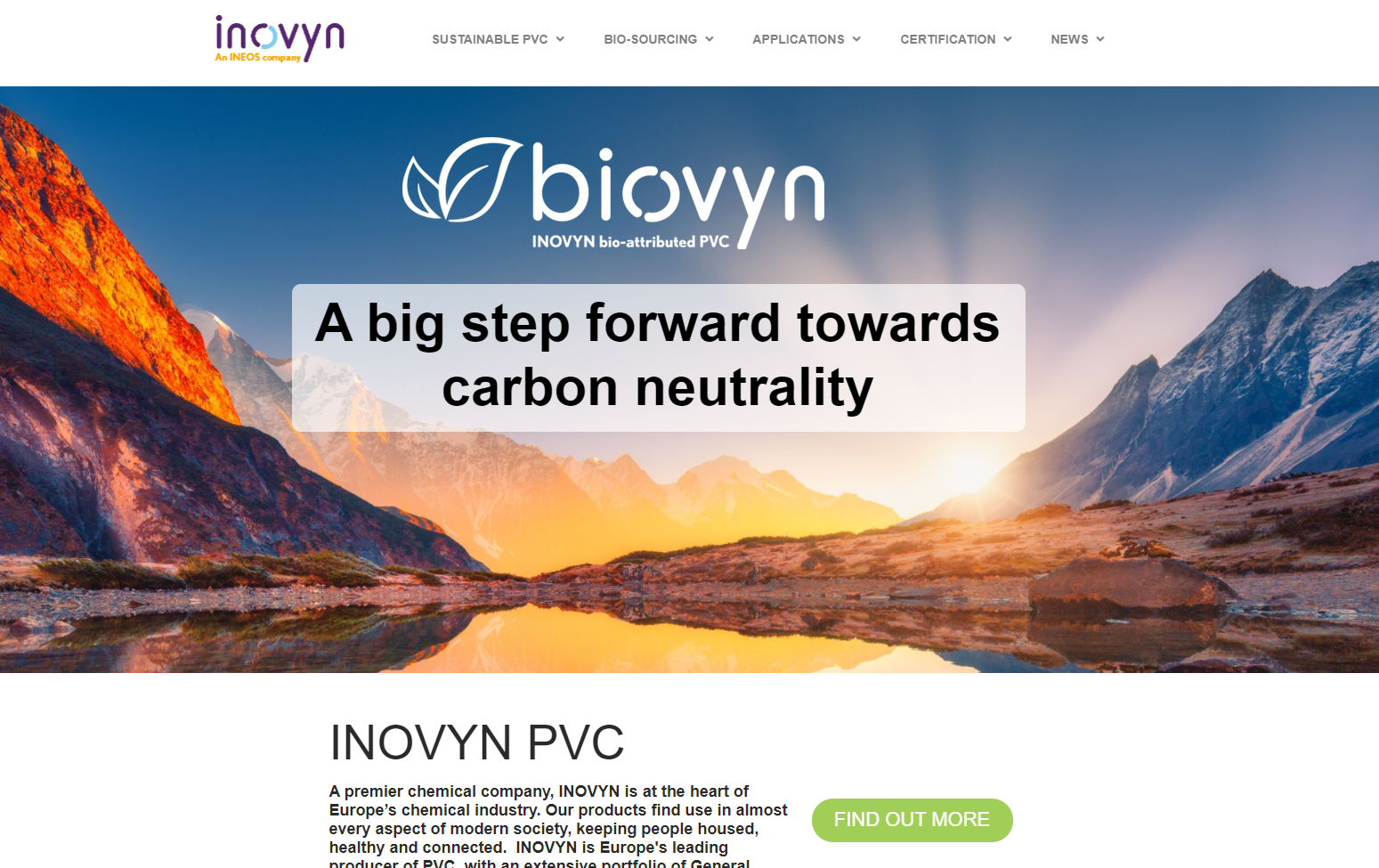 INOVYN launches showcase website for BIOVYN™, world's first commercially available bio-attributed PVC