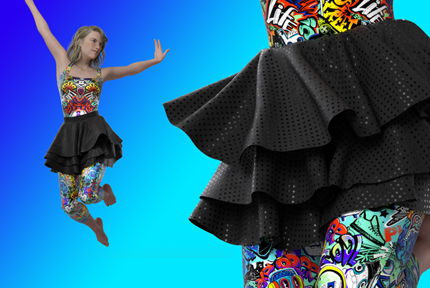 Skirt simulated in Optitex PDS-3D applying LASQUEN swatchbook material