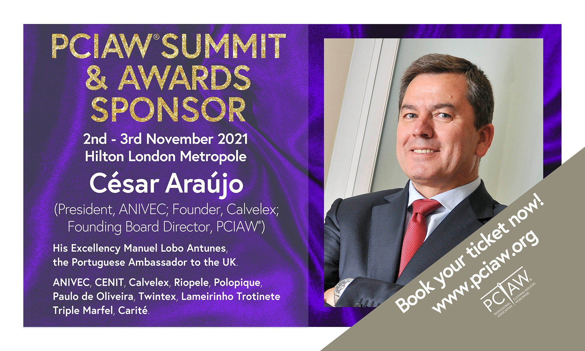 ANIVEC is pleased to announce its sponsorship of the PCIAW® Summit, Networking & Awards, taking place on 2-3 November