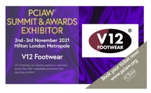 V12 Footwear, the leading British safetyfootwearbrand, is exhibiting its newest innovations at the PCIAW® Summit, Networking & Awards, held on 2-3rd November 2021, Hilton London Metropole.